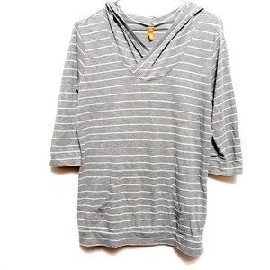 Lucy Grey Striped 3/4 sleeve pocket antletic top S